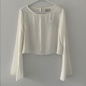 A&F Bell Sleeve Sheer Cropped Blouse